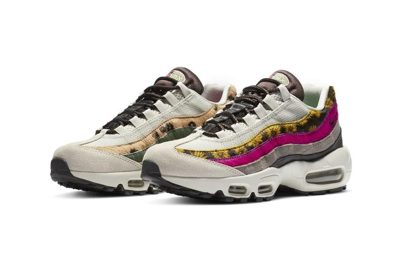 nike air max 95 am95 premium light bone velvet brown asymmetrical suede floral animal print womens sneakers