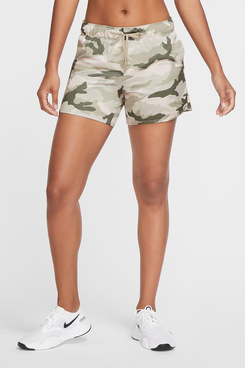 nike sportswear womens dri fit camo training crew shorts set olive green