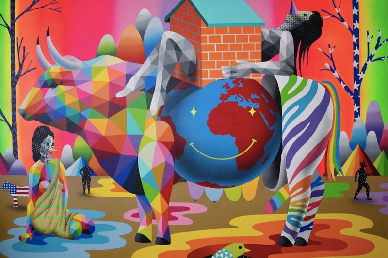 okuda san miguel new digital love corey helford los angeles solo exhibition spanish artist love in pandemia pikachu tweety donald duck sesame street