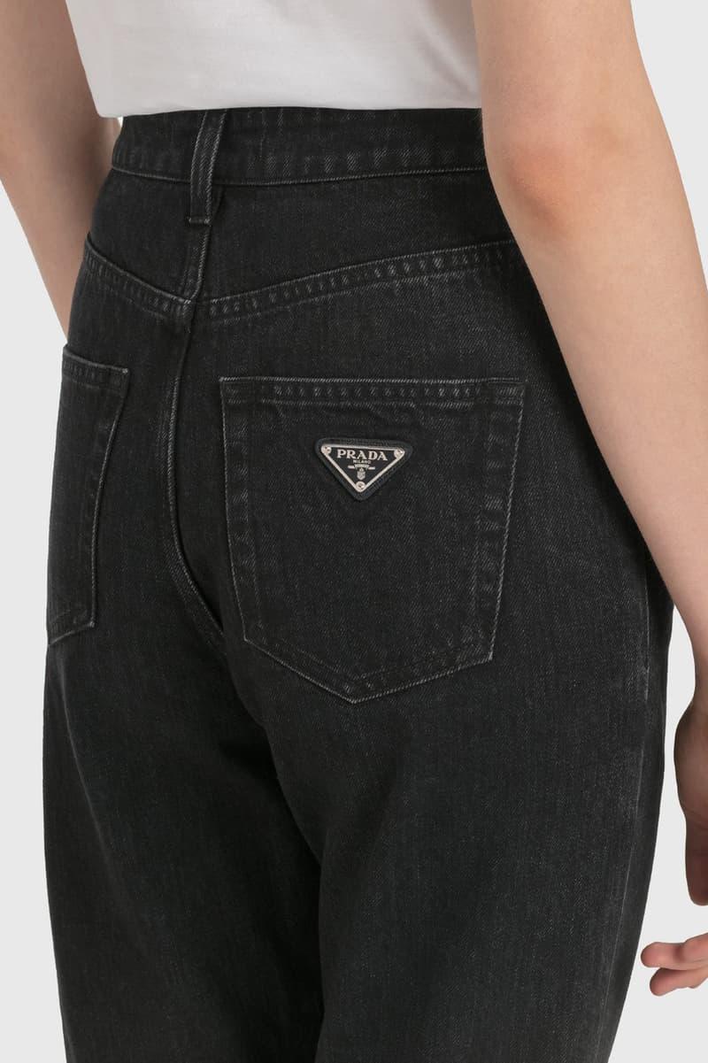 Prada Denim Jeans Black Triangle Logo Pocket Womens