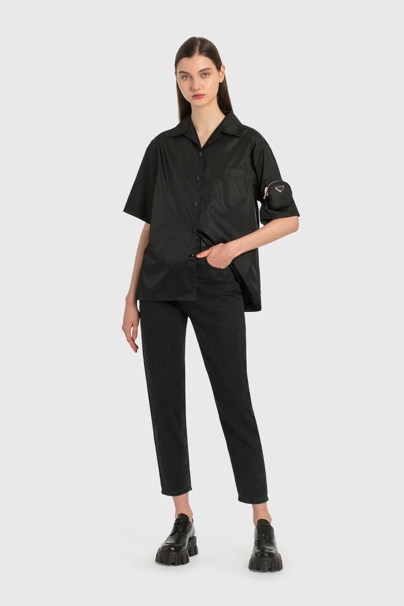 Prada Denim Jeans Black Triangle Logo Pocket Womens Button Up Shirt Arm Nylon Bag Pouch Platform Brogues Shoes
