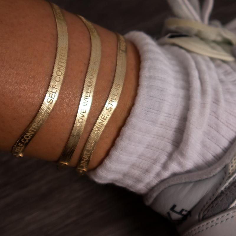 Shami Herringbone Anklets Gold Plated Silver Jewelry
