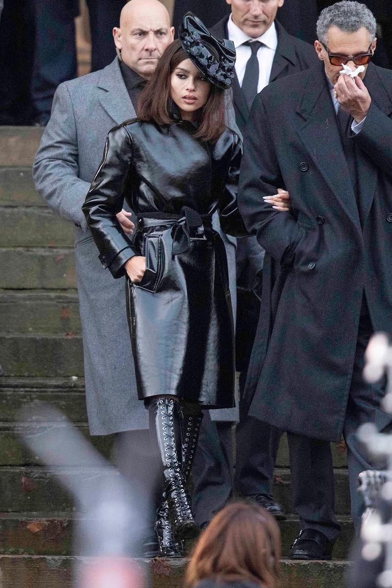 Zoe Kravitz The Batman Catwoman Costume Filming Movie Liverpool England John Turturro