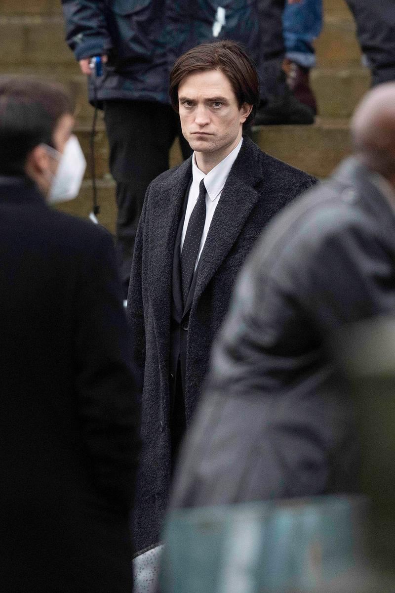 Robert Pattinson The Batman Costume Movie Filming Liverpool England