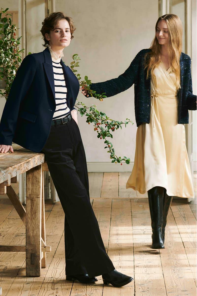 uniqlo ines de la fressange collaboration fall winter dresses skirts jackets campaign