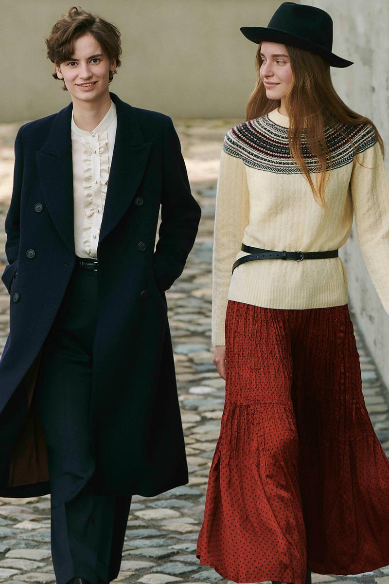 uniqlo ines de la fressange collaboration fall winter dresses skirts jackets campaign