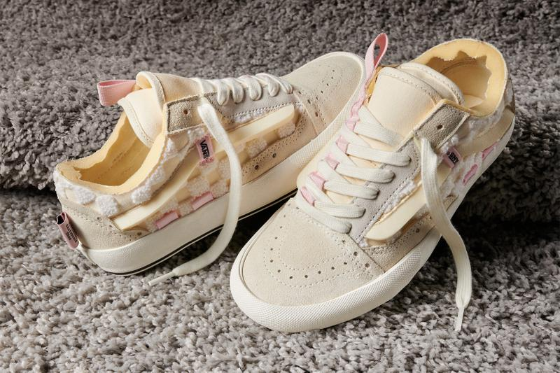 vans chenille pack era old skool cap sneakers off white cream footwear shoes pink