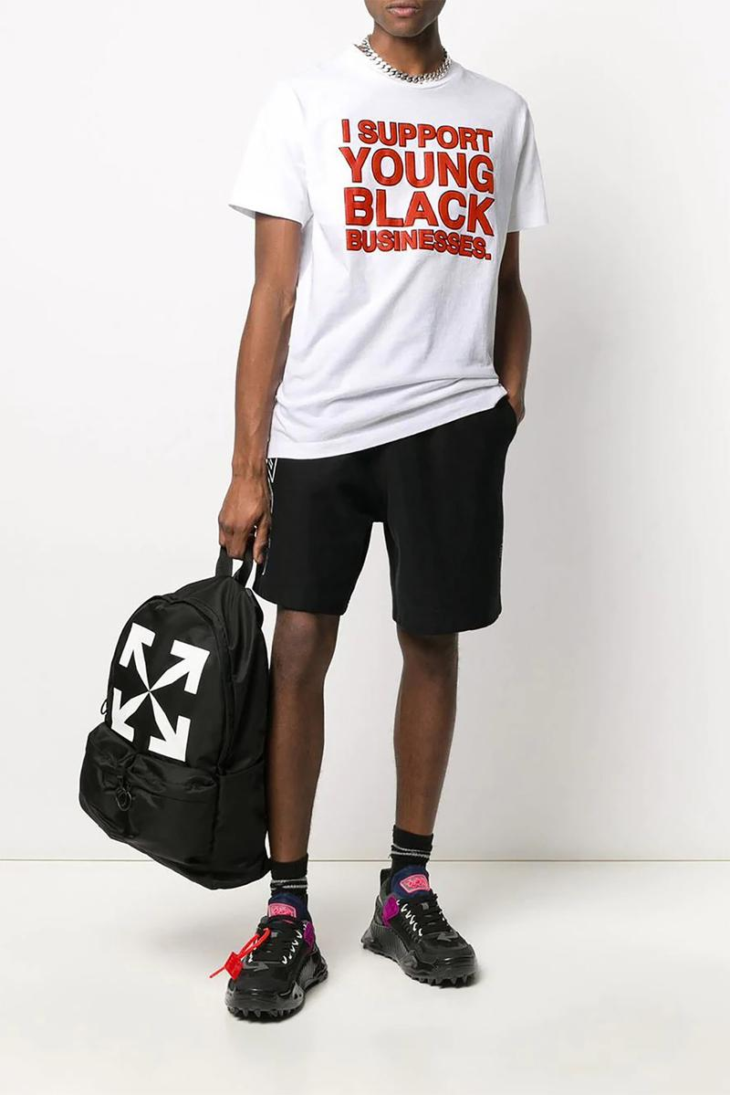 virgil abloh i support young black businesses fundraiser charity donation white t shirt hoodie