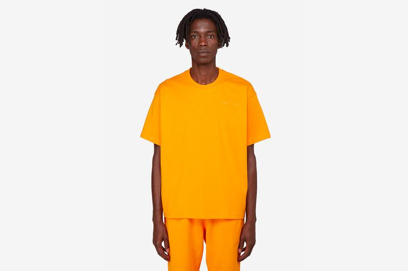 pharrell williams adidas originals basics line release hoodies t-shirts sweatpants slides slippers pink yellow