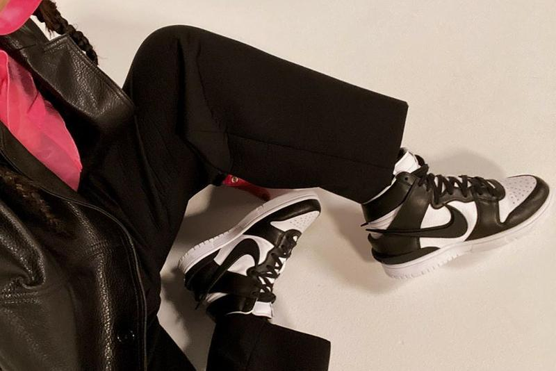 AMBUSH Nike Dunk High Sneaker Collaboration Black White Yoon Ahn Elongated Swoosh
