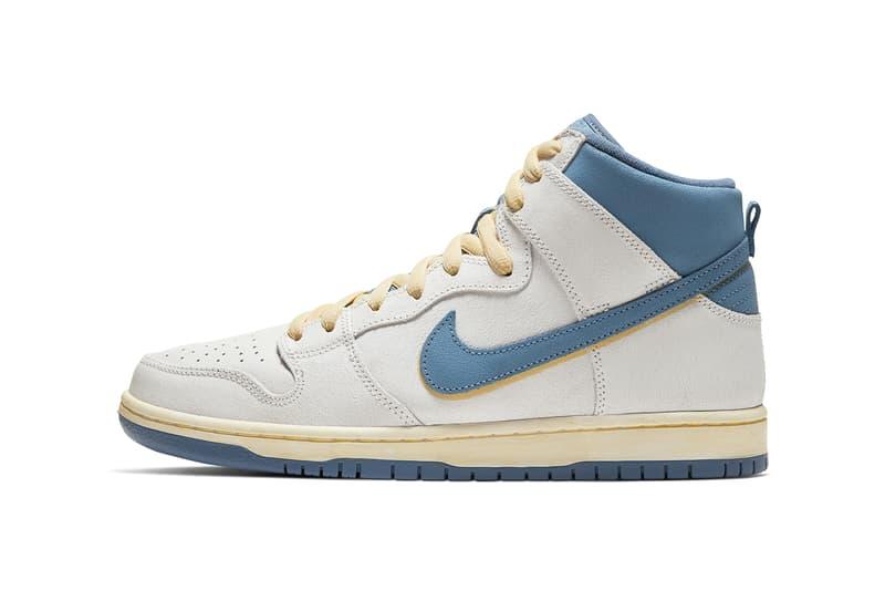 nike sb dunk high atlas lost at sea retro vintage collaboration light blue white sneaker release
