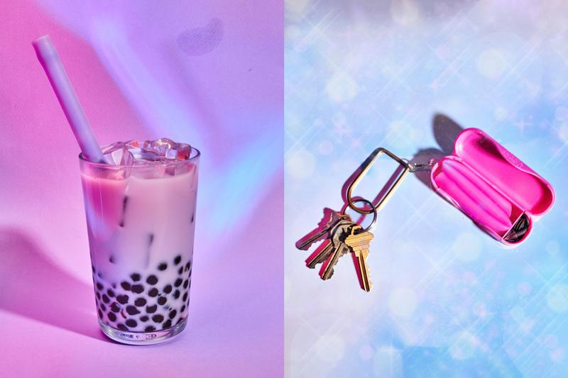 Boba Bubble Tea Straw Keychain Reusable Eco-Friendly