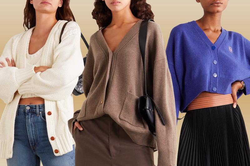 Cardigan Cardigans Knitwear Cropped Loewe Toteme Staud White Cable Knit Oversized Brown Purple Blue