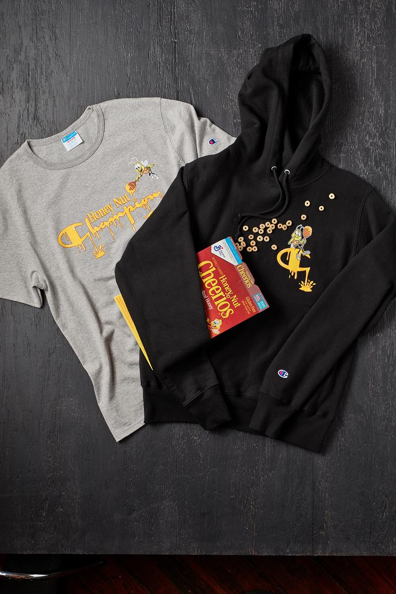 champion general mills collaboration cereal hoodies tees lucky charms cinnamon toast crunch red gray