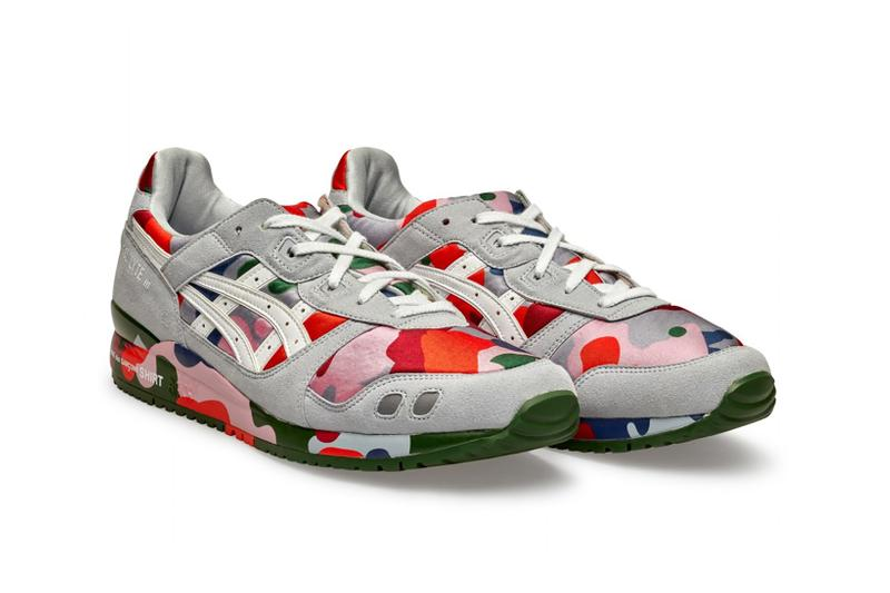 comme des garcons shirt asics collaboration gel lyte iii sneakers camo gray red green pink shoes footwear sneakerhead