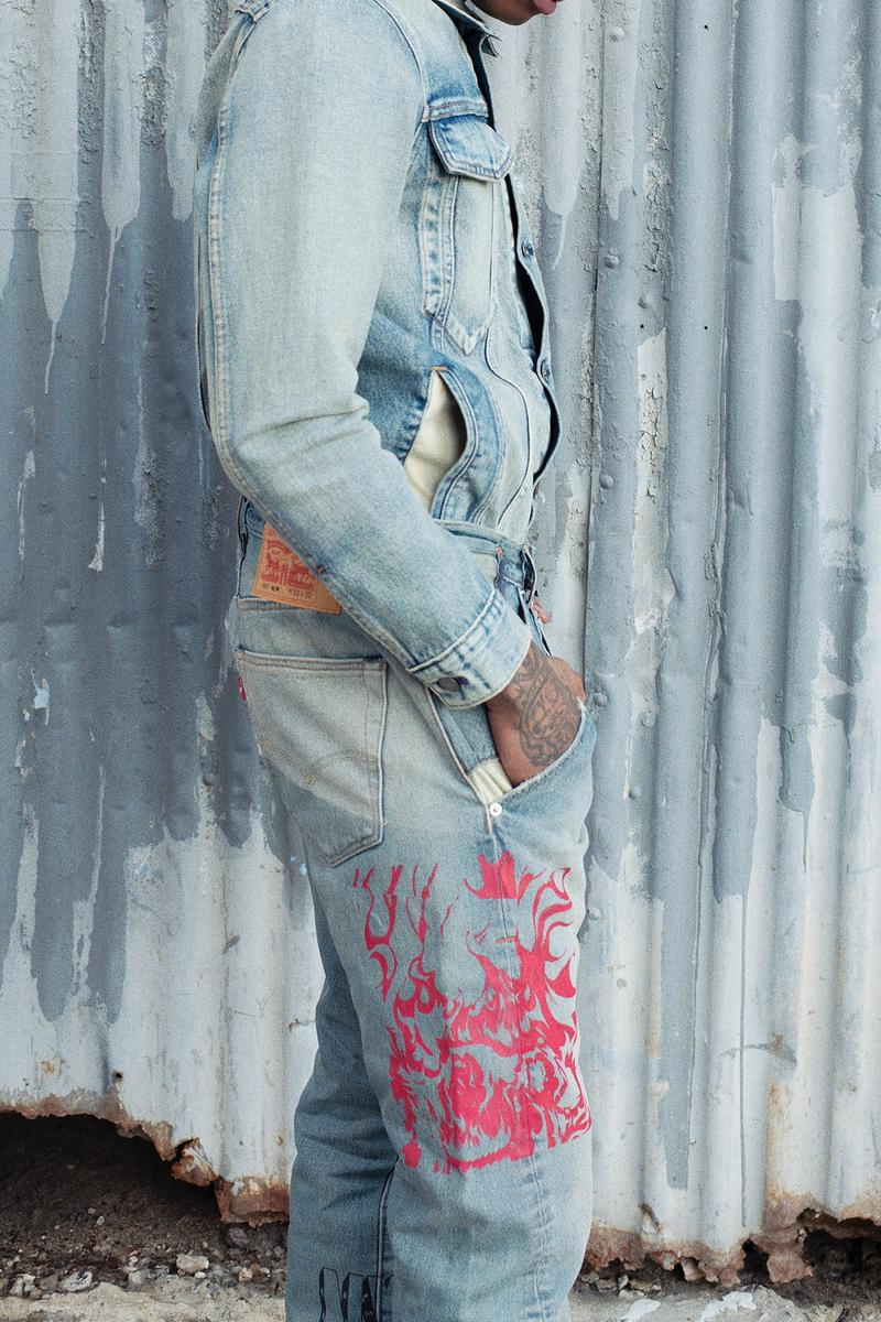Heron Preston x Levi's Collaboration Collection Trucker Jacket 501 Jeans Pink Denim