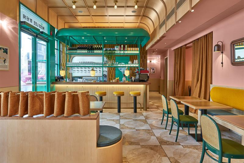 hong kong hk miss lee vegetarian vegan chinese food central interior design pastel wes anderson