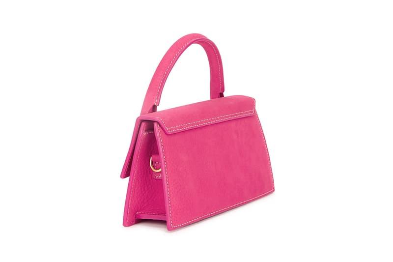 simon porte jacquemus le chiquito long pink nubuck top handle designer bag