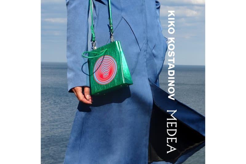 kiko kostadinov medea handbags collaboration shopper purses metallic suede crocodile print release