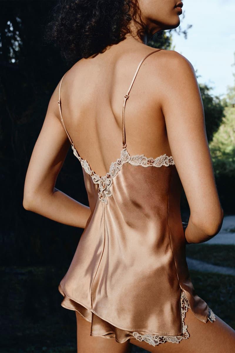 la perla maison rainbow metallic collections lingerie bras underwear silk dresses brown green
