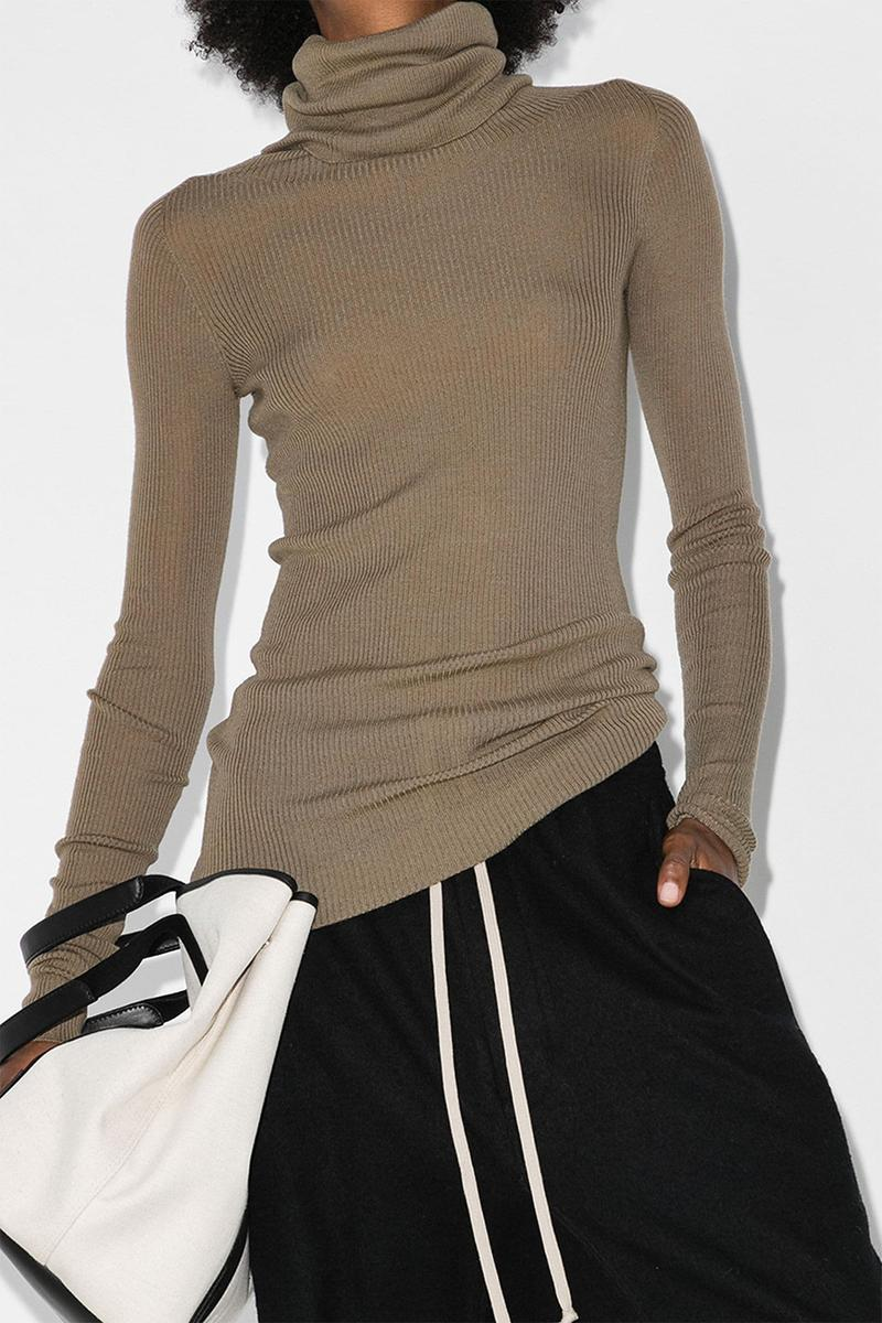 light knit sweaters fall rick owens beige brown turtleneck