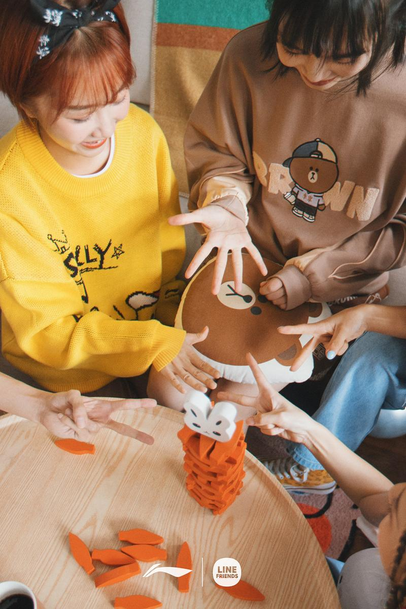 line friends brown characters li ning fall winter collaboration tees