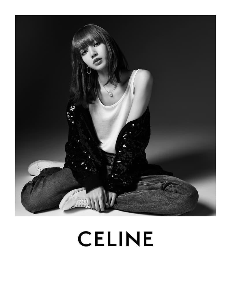 BLACKPINK Lisa CELINE Campaign Hedi Slimane Black and White Global Brand Ambassador Jeans Denim Sneakers Sequin Jacket