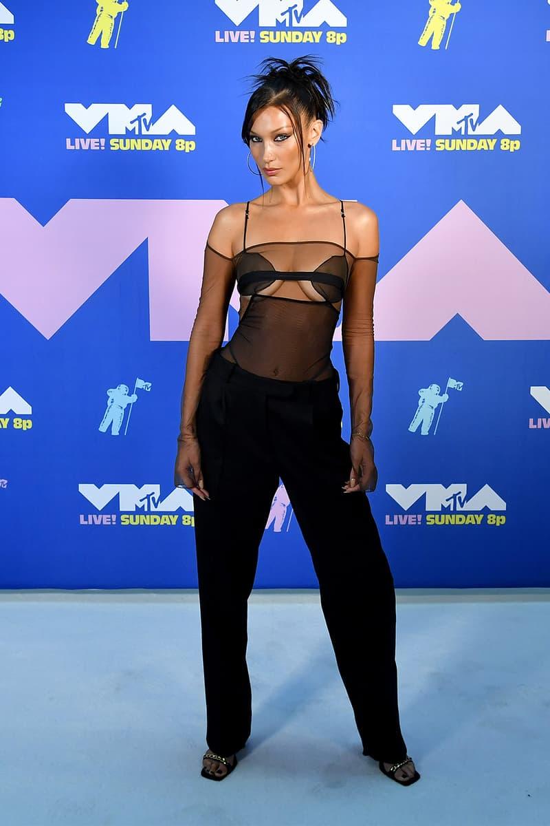 bella hadid mtv vma look red carpet nensi dojak emerging designer 90s sheer black bodysuit