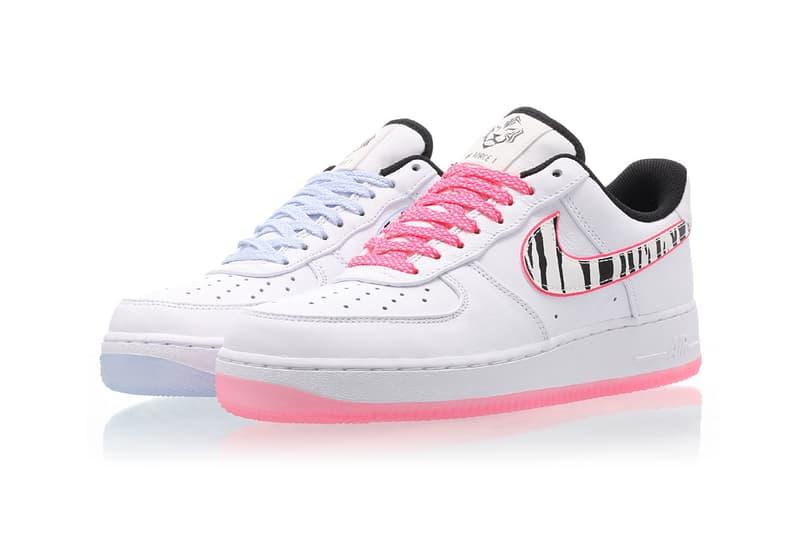 nike air force 1 south korea football team sneakers neon pink pastel blue white black tiger stripes shoes footwear sneakerhead