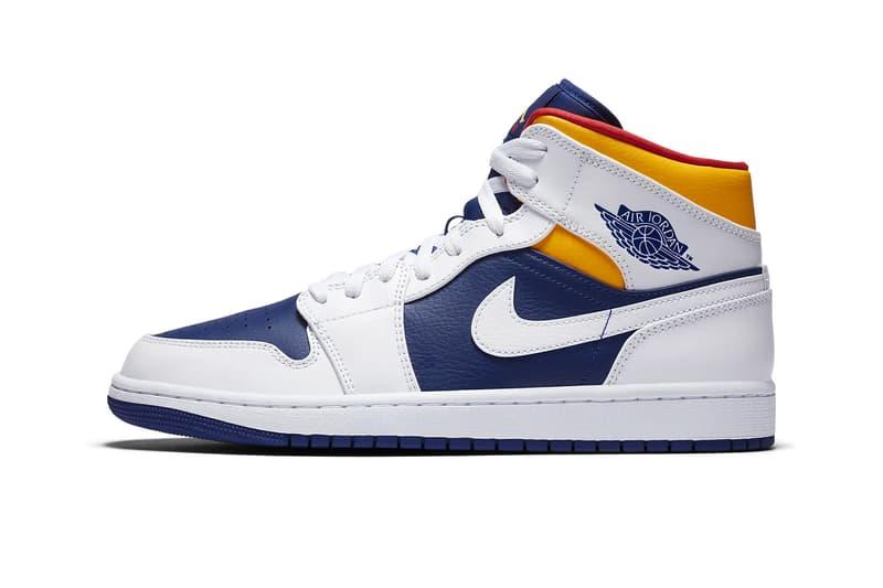 nike air jordan 1 mid low deep royal blue track red laser orange yellow sneakers release info