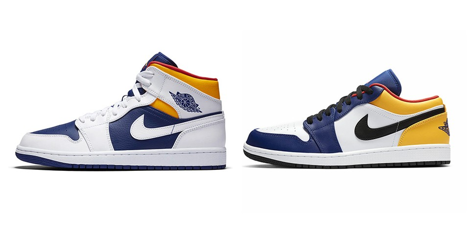 "Nike Dresses the Air Jordan 1 Mid and Low in ""Deep Royal Blue/Laser Orange/Track Red"""