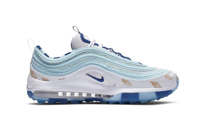 Nike Air Max 97 G NRG Golf Shoe Sneaker Wings Flying Print White Blue Gold