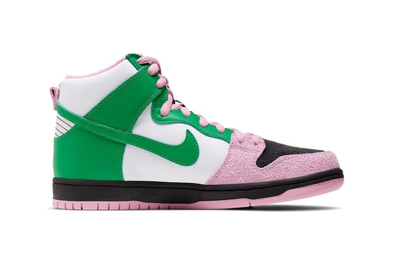 nike sb dunk high invert celtics white green pink black suede release price info