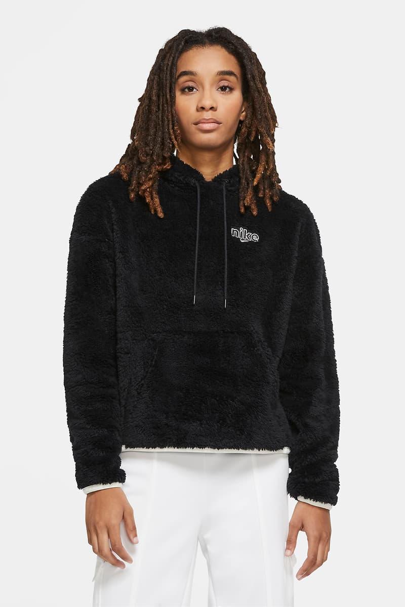 nike sportswear womens hoodie shearling fleece teal blue green black
