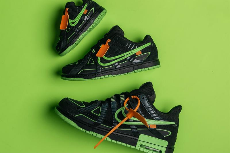 off white nike air rubber dunk green strike university blue virgil abloh official look release info
