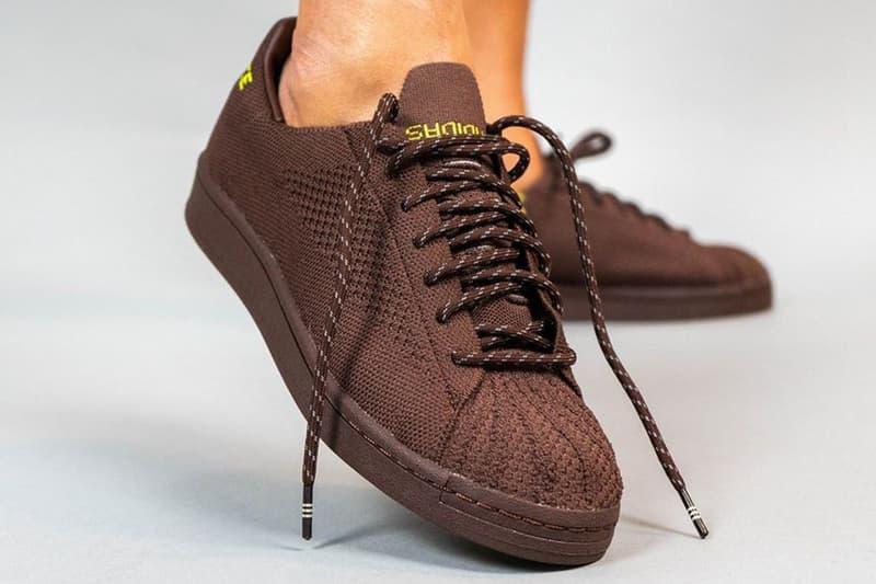 pharrell williams adidas originals primeknit superstar purple yellow white green brown collaboration release