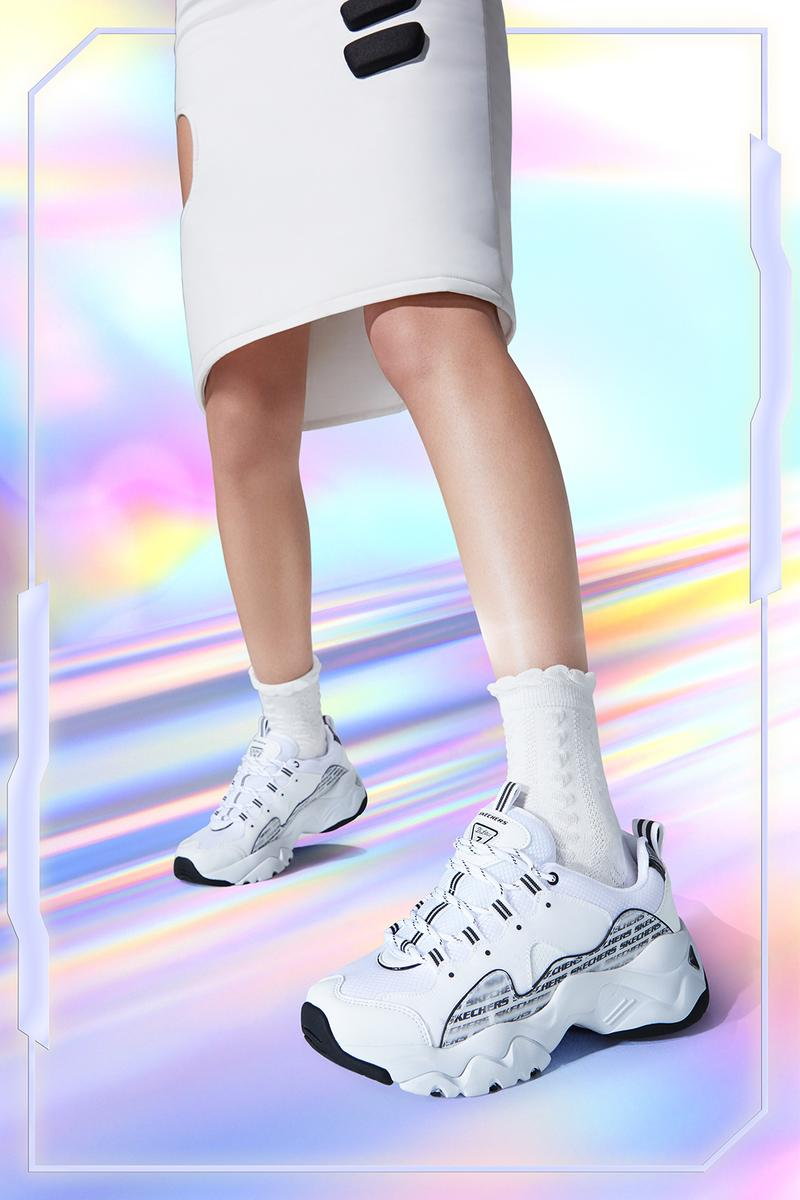 skechers holographic collection dlites 3.0 energy sneakers 2000s retro nostalgic release