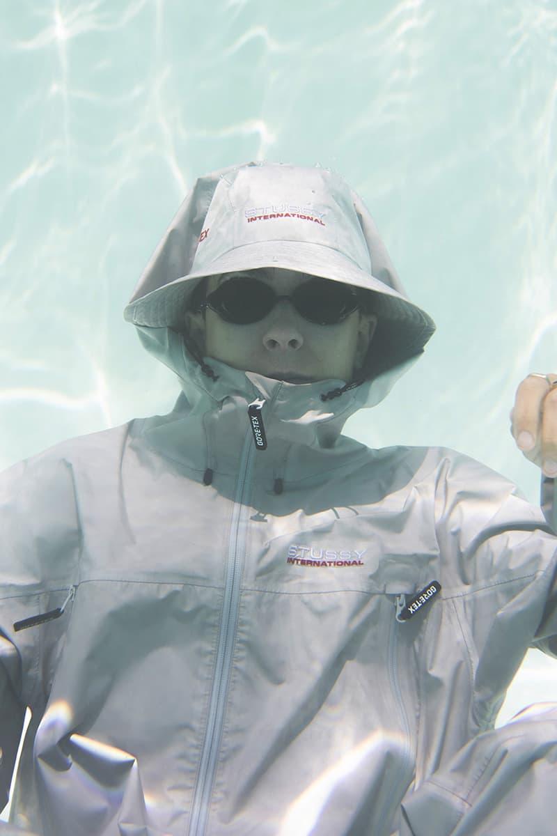 stussy gore-tex fall capsule collaboration shell jacket pants bucket hat waterproof release info