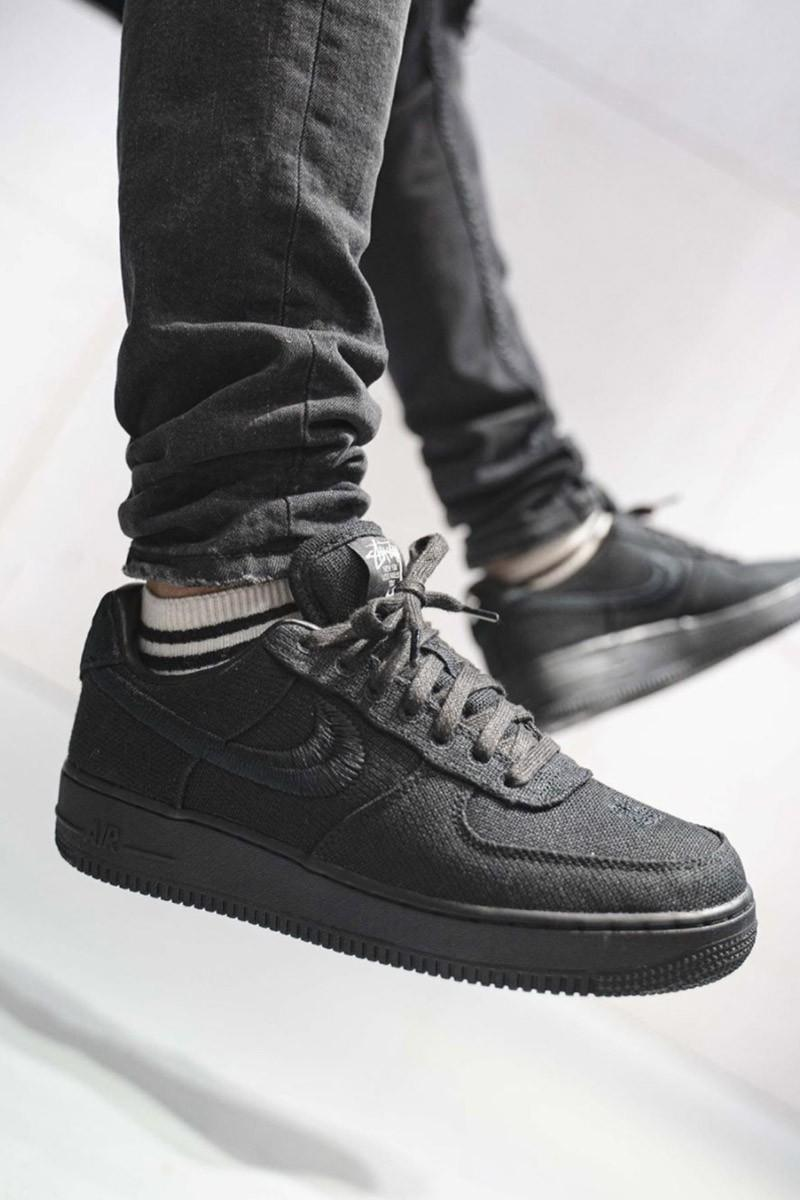 stussy nike air force 1 af1 fossil stone black white on-foot look collaboration release info