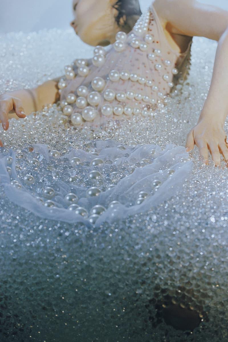 susan fang fall winter 2020 campaign glass beads model shot