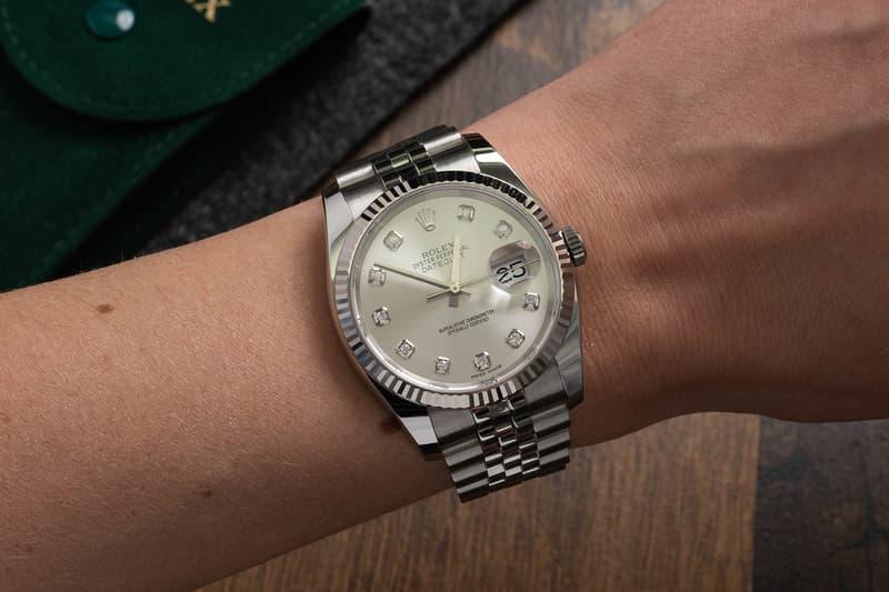 luxury watch timepiece rolex datejust 36 oyster perpetual steel case bracelet diamond dials