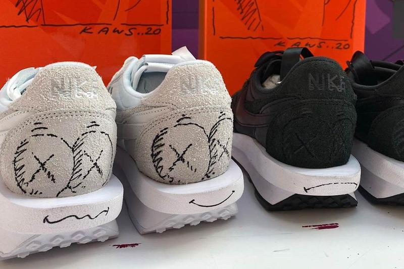 KAWS sacai x Nike LDWaffle Custom Sneaker Auction Release White Black Colorway Doodle