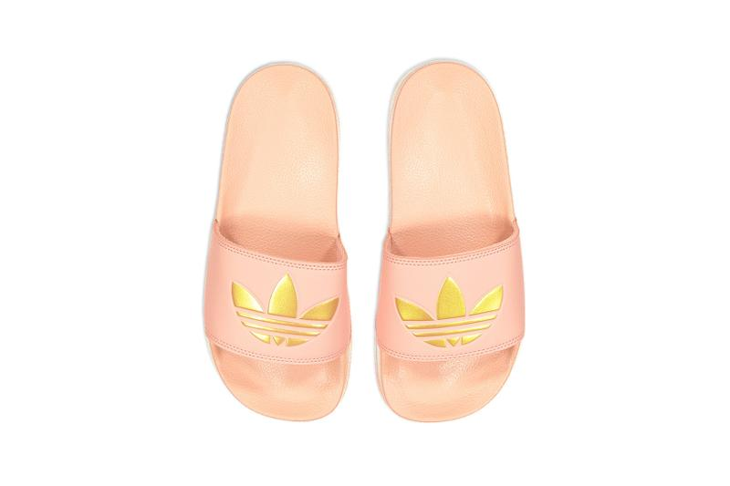 adidas adilette lite slides slippers pink cream white gray footwear