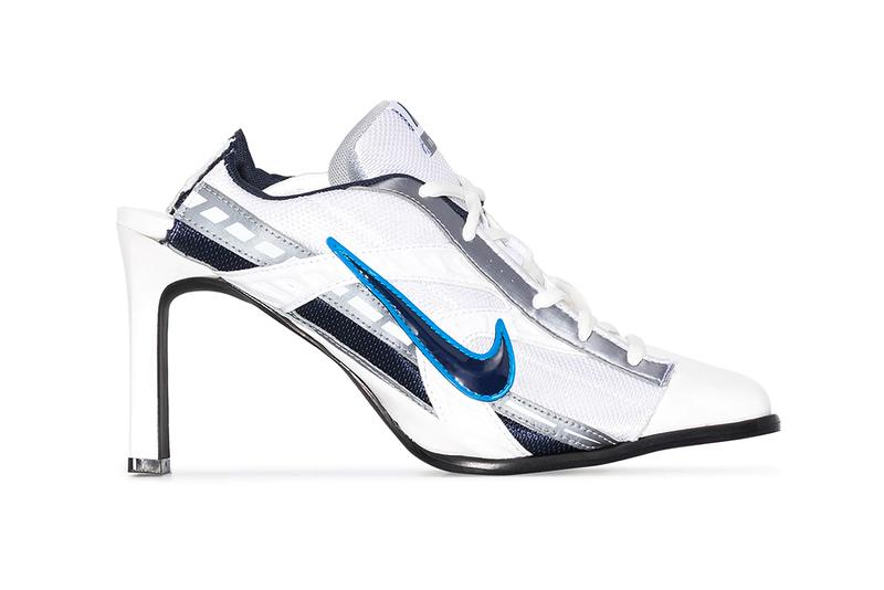 ANCUTA SARCA Nike Mesh Panelled 100mm Mules White Blue Swoosh Reworked Upcycled Heels