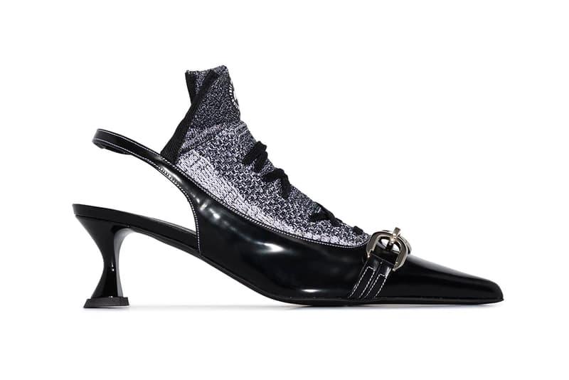 ANCUTA SARCA Nike Black 70 Sock Insert Buckled Pumps Upcycled Reworked Heels