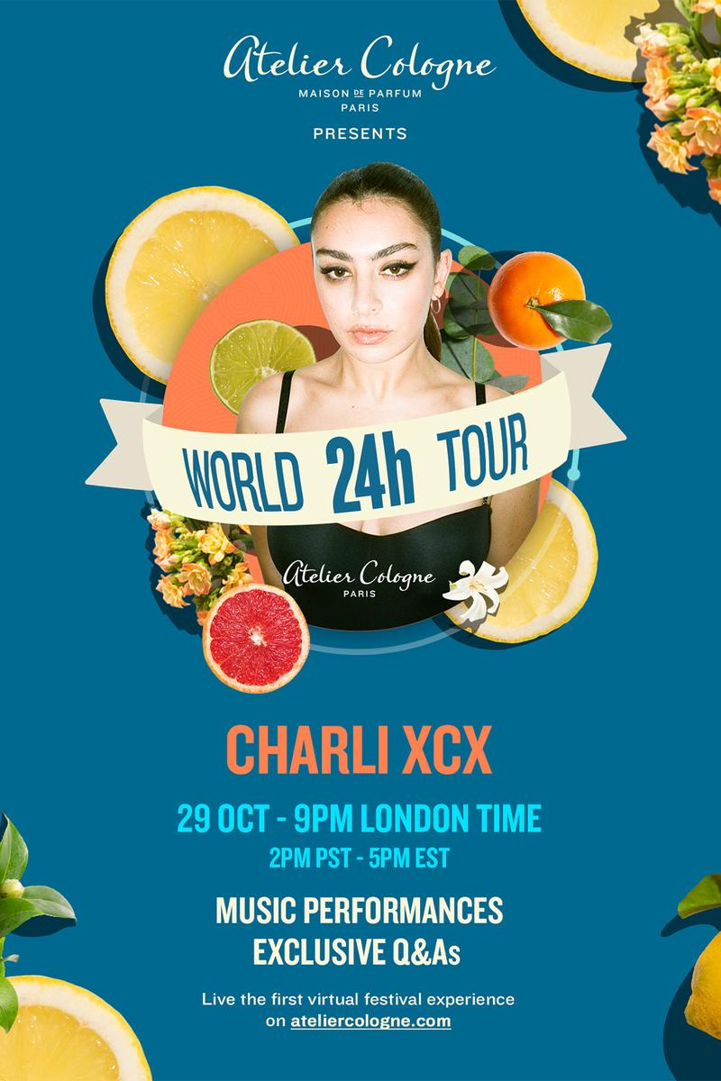 atelier cologne 24 hour music world tour virtual concert charli xcx
