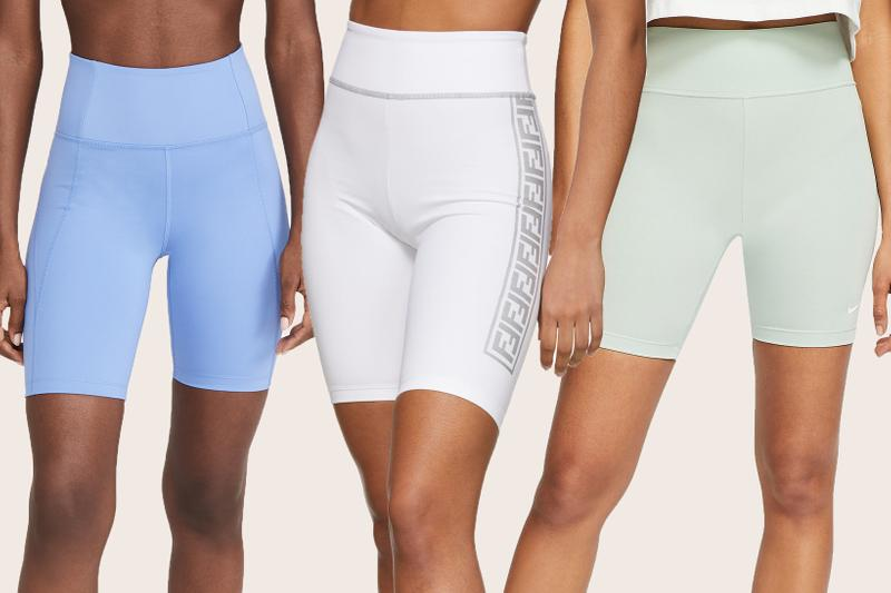 best bike cycling shorts affordable high end nike fendi girlfriend collective pastel blue white green