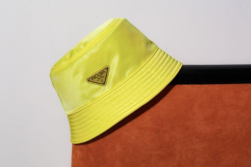 best fall winter bucket hats prada logo nylon yellow