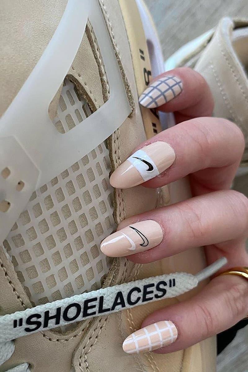 best fall nail trends inspiration nike off-white air jordan 4 aj4 beige sail