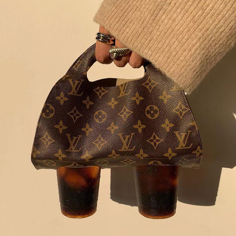 Instagram Louis Vuitton Monogram Bag Brown Leather DIY Rework Coffee Cups Fashion Jewelry Rings Beige Sweater